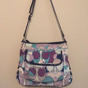 COACH F18839 Nylon/Patent Leather Crossbody Bag!
